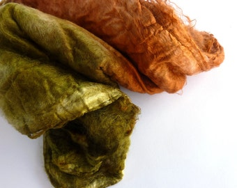 Silk Hankies for Spinning and Felting Crafts Hand Dyed Silk Mawata   Olive Cinnamon