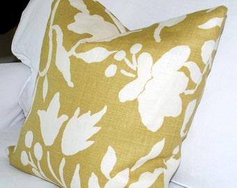 Quadrille China Seas Potalla Pillow Cover. Inca Gold onTint.