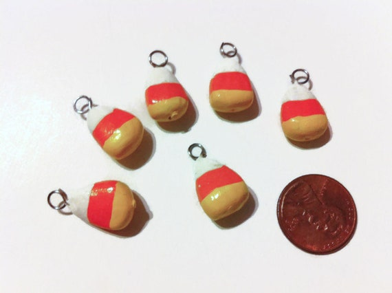 Candy Corn Charms, Halloween Charms, Polymer Clay Charms, Halloween Candy charms, Halloween candy, stocking stuffers,, 6 pieces