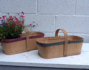 Vintage Market Berry Basket Bushel Basket Primitive Garden Basket Gathering Basket