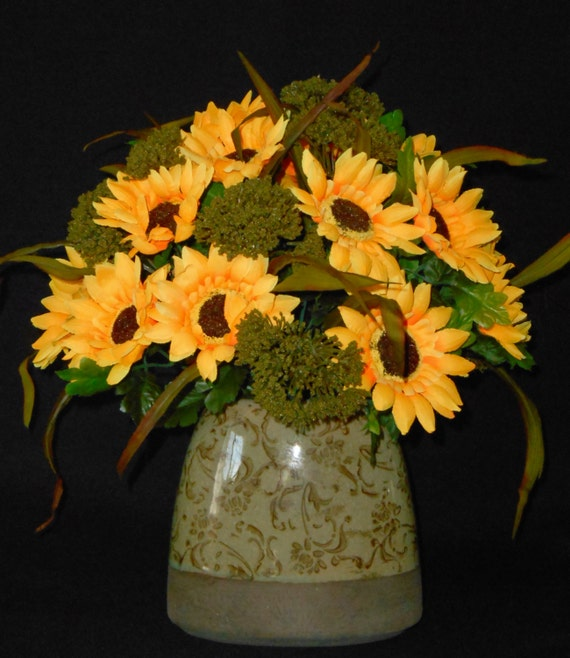 Artificial Flower Arrangement Gold Sunflowers And Olive Green