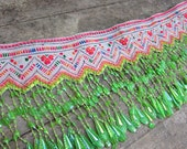 Tribal vintage fabric hand embroidered fabric Hill tribe Hmong textile bead detail lot2no32