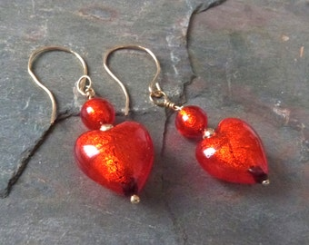 Fiery Red Gold Foil Venetian Glass Heart Dangle Earrings, Gold Filled Wires, Handmade