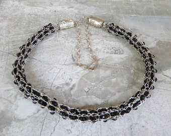 Black Spinel Gemstone Necklace Caged in Handmade Fine Silver Viking Knit Chain