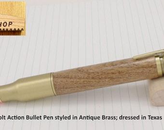 Bolt Action Bullet Pen Handmade Antique Brass Texas Mesquite Pen