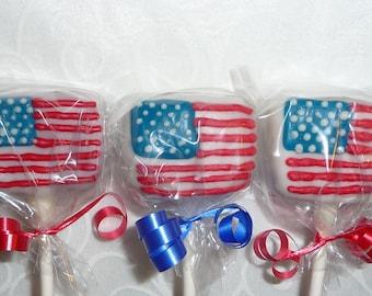 24 US Flag Cake Pops