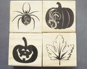 Craftsmart Retired Halloween Stamp set of 4 stamps - Spider - Jack o' Lantern - Maple Leaf - Pumpkin