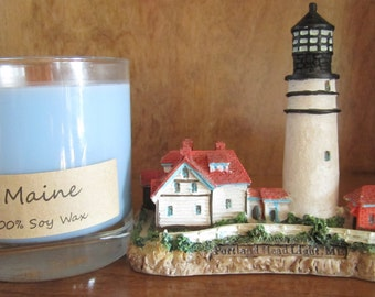 Maine. 11oz Soy Glass Candle with Wood Wick.