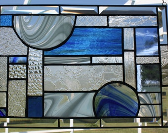 Clear and Blue Textures and Beveled Glass Panel