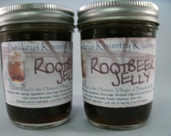 Two Jars Rootbeer Jelly Homemade by Beckeys Kountry Kitchen jam fruit spread preserves