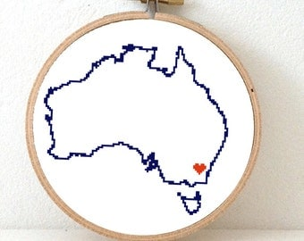 Australia Map Cross Stitch Pattern. Australia embroidery pattern highlighting Canberra. Gift for migrating friend