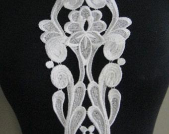 White Venise Applique, White Bridal Applique, Unique Applique, White Lace Patch G33-474