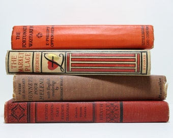 Summer Sunset Orange and Red Vintage Book Collection: Sonnets Pour Helene, Revised Elementary French Grammar, The Market Place