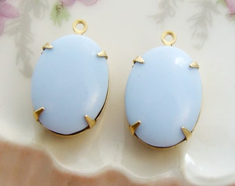 Vintage Opaque Soft Blue 18x13mm Oval Stones in Brass, Matte Black or Antique Silver Pendant Settings - 2