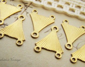Small Geometric Art Deco Three Ring Triangle Y Connectors in Raw Brass - 6