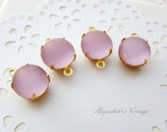 Vintage 11mm Frosted Light Lavender Amethyst Glass Stones in Brass Settings Drop or Connector - 4