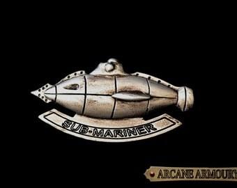 Steampunk Sub-Mariner Badge Kracken hunting Silver Finish