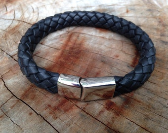 Mens Leather Bolo Braid Black Bracelet Gift for Him Stainless Steel Clasp