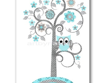 Baby Boy Nursery Prints Children Wall Art Kids Art Kids Room Decor Nursery Wall Art Owl Decor Tree Nursery Owl Nursery Boy Print Gray