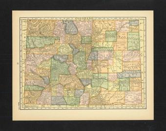 Vintage Map Colorado From 1926 Original