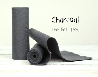 Wool Felt Roll - 100% Wool Felt in color CHARCOAL - Merino Wool Felt - Gray Wool