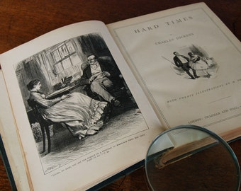Victorian Charles Dickens Hard Times and Nicholas Nickleby novels in hardback with illustrations by Barnard and French