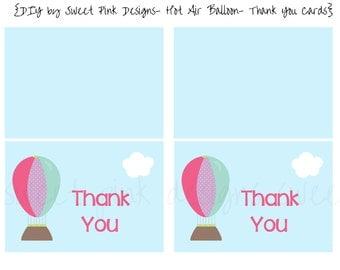 Hot Air Balloon Thank You Cards