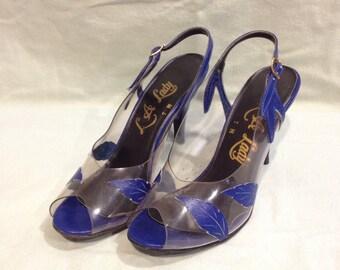 Vintage La lady clear vinyl and blue leaf peep toe heels