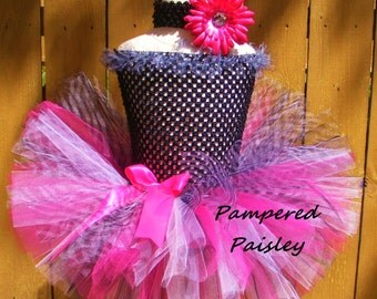 Pink and black Zebra tutu -  Baby - Infant/Toddler  newborn-adult Tutu dress -  tutu and matching headband