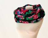 black floral circle scarf, infinity scarf, Russian shawl, vintage babushka, black, red and green, roses circle scarf, black floral scarf 137
