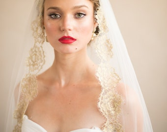 GOLD VEIL- Hair Accessories Wedding Veil- French Chantilly ISABELLA Gold Lace Bridal Veil from Camilla Christine