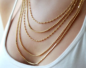 Gold multi strand necklace / Multi layer chain necklace / gold layered necklace / birthday gift for her
