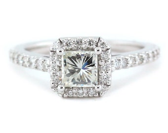 Princess Cut Moissanite Diamond Halo Setting 14k Gold Ring Name Pretty as a Princess II