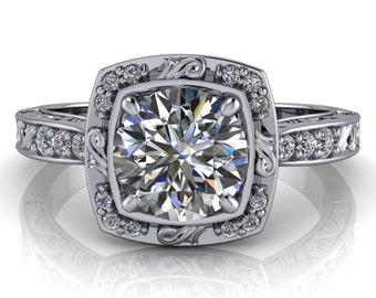 Moissanite Engagement Ring Diamond Halo Setting