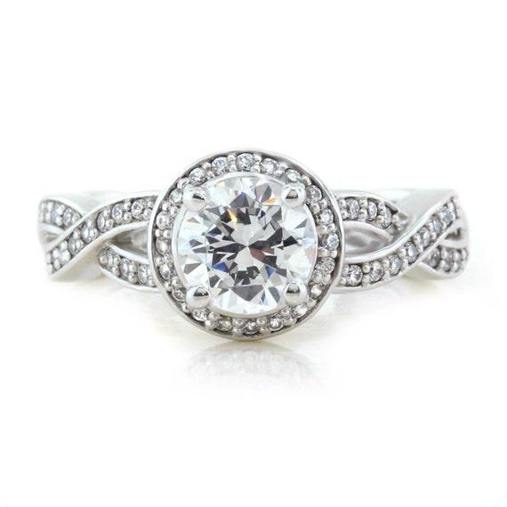 Twisted band engagement ring diamond setting moissanite center custom moissanite ring diamond halo setting gold platinum or palladium bridal