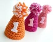 First Birthday Hat--Mini party hat--Crochet Birthday Hat--Custom colors--Elastic headband--Boy or Girl