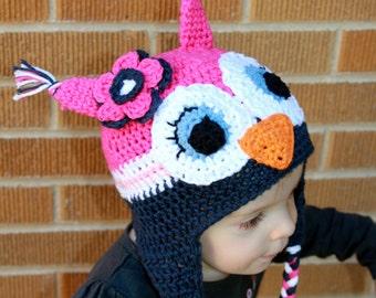 Crochet Owl Hat - Baby Owl Hat - Newborn Photo Prop - Newborn Owl Hat - Earflap Beanie - Animal Hat - Child Owl Hat - Toddler Hat - Winter