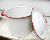 Vintage Enamel Stock Pot with Lid White with Red