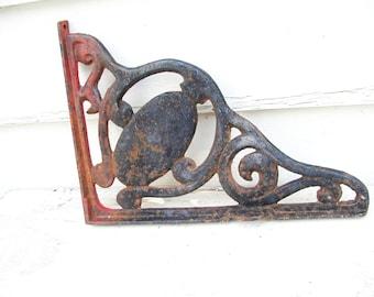 Vintage Heavy Iron Salvage Table Brace Bracket Shelf