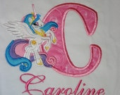 Princess Celestia Pony birthday Shirt, My little Pony, Personalized Shirt, Embroidered, Appliqued, Monogrammed