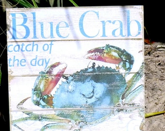 Coastal Wall Decor Beach Inspired Charming  Blue Crab Catch Of The Day