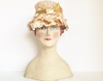 Vintage 1960s Straw Hat with Velvet Flowers