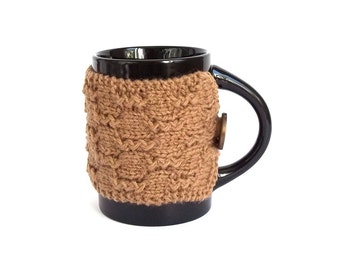 SALE - 50% Off! Knit Coffee Cup Cozy. Knitted Mug Cozy. Hand Knit Tea Cup Cosy. Pick Your Color - Burgundy, Dark Olive or Light Brown.