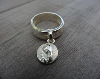 Sterling silver Holy Spirit / young virgin ring. Reversible dangling charm.