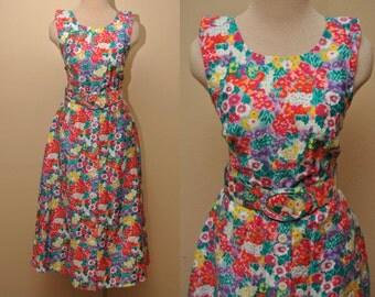 90s Floral Cotton Sleeveless Dress Liz Claiborne Size 4