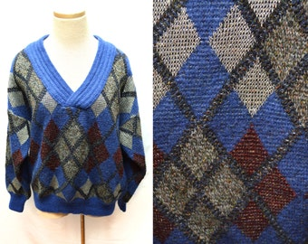 80s Blue Argyle Wool Sweater Made in Italy Oversized XXL