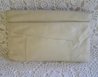 Ivory Leather Asymmetrical Clutch Purse Handbag, 1980's Rocker Hipster