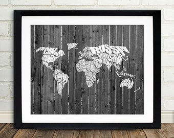 World Word Map on a Wood Fence - White Typographic Map of the Countries of the World.