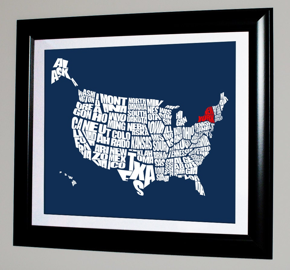 U S A Typography Map With State Highlighted A Typographic Word Map Of The United States Of America Travel Map Art Typography Stencil Us