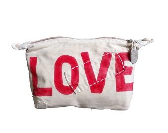 Ali Lamu Large Clutch Bag Natural Love Red